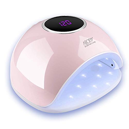 Abody Nail Lamp 48W UV LED Nail Dryer, Gel Nail Lamp with 5 Timer Setting, Automatic Sensor, LCD Display, Memory and Pause Timer Function for Fingernail & Toenail, Pink