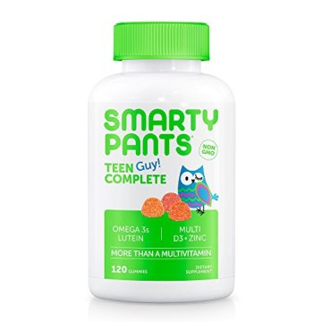 SmartyPants Teen Guy Complete Gummy Vitamins: Multivitamin & Lutein/Zeaxanthin for Blue Light Protection*, Omega 3 Fish Oil (DHA/EPA), 120 COUNT, 30 DAY SUPPLY