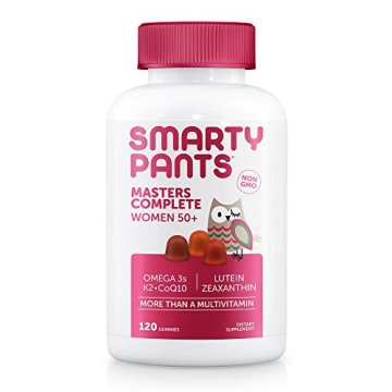 SmartyPants Women's Masters Complete 50+ Vitamins: Multivitamin & Lutein/Zeaxanthin for clinically-proven eye health*, vitamin K, CoQ10, Omega 3 Fish Oil, 120 COUNT, 30 DAY SUPPLY