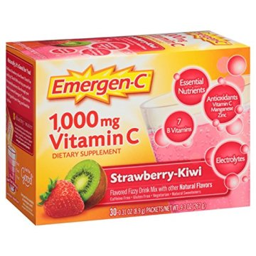 Emergen-C (30 Count, Strawberry-Kiwi Flavor, 1 Month Supply) Dietary Supplement Fizzy Drink Mix with 1000mg Vitamin C, 0.31 Ounce Packets, Caffeine Free