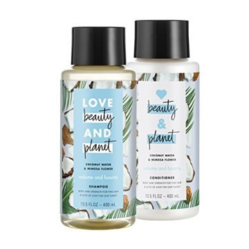 Love Beauty And Planet Volume and Bounty Shampoo and Conditioner, Coconut Water & Mimosa Flower, 13.5 oz, 2 ct