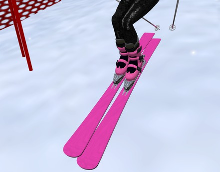 Pink skis with pink ski boots