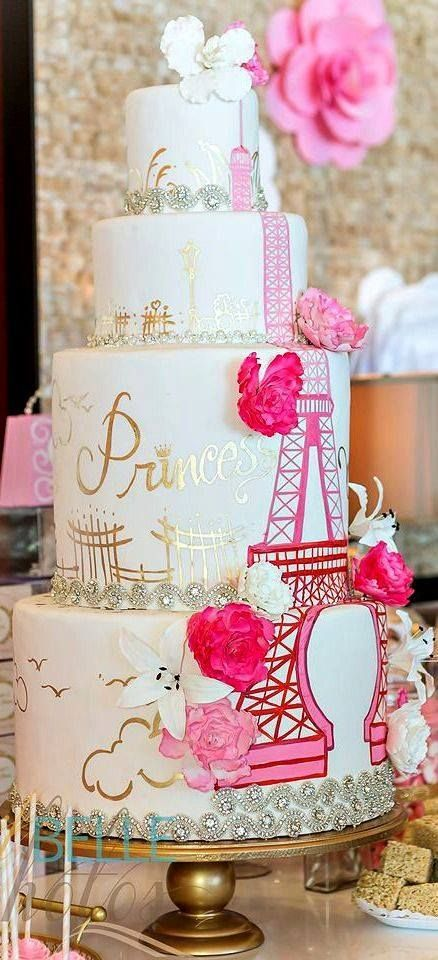 Pink eiffel tower cake