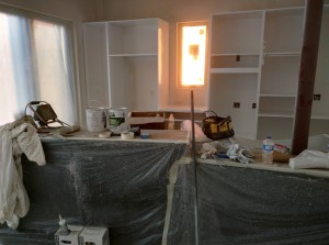 Kitchen cabinets painted.  Ready for the masking to come off of the island.