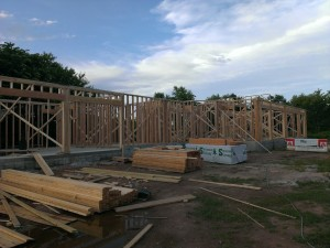 Initial first floor framing.  Mud pits are already starting to form.