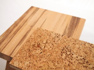 The cork floor we're considering for the upstairs goes nicely with the Tigerwood.