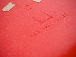 The embossed Herman Miller logo lets you know it's authentic.