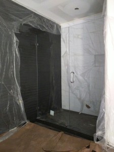 The master shower.  The black wall tile is Bedrosians' Wave tile.