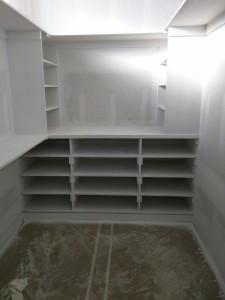 Master closet shelving.