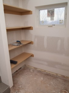 Master bath shelving.