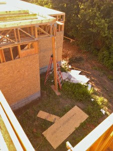 The area between the stair tower (bottm, right) and the powder room (left) will be planted with bamboo as well.