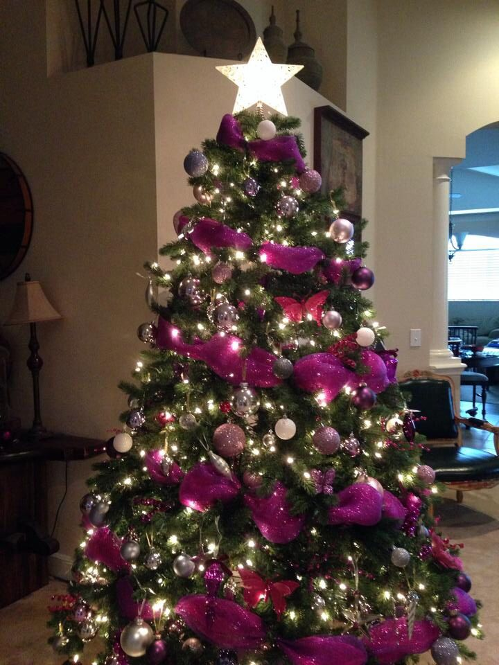 Pink and purple christmas tree ornaments