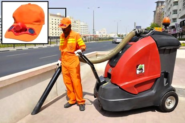 Dubai provides workers with solar-powered cooling caps