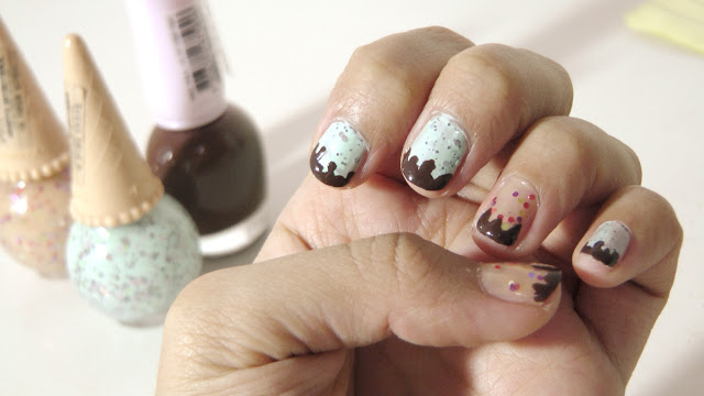 Etude House Nail Polish Sweet Recipe Ice Cream Nails #1 MintChoco Chip and #3 Apricot Candy DBR401 Bravo Brown