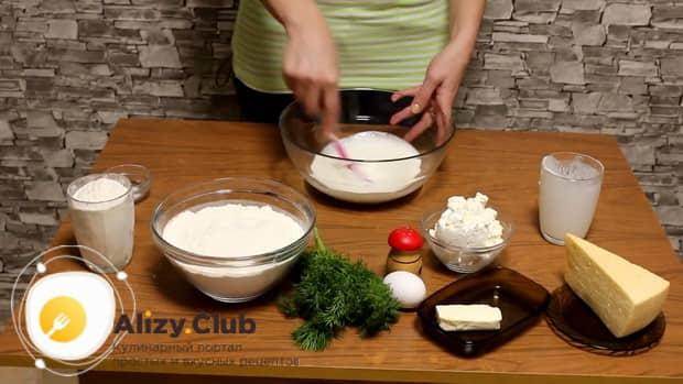 Хачапури с сыром творогом и зеленью