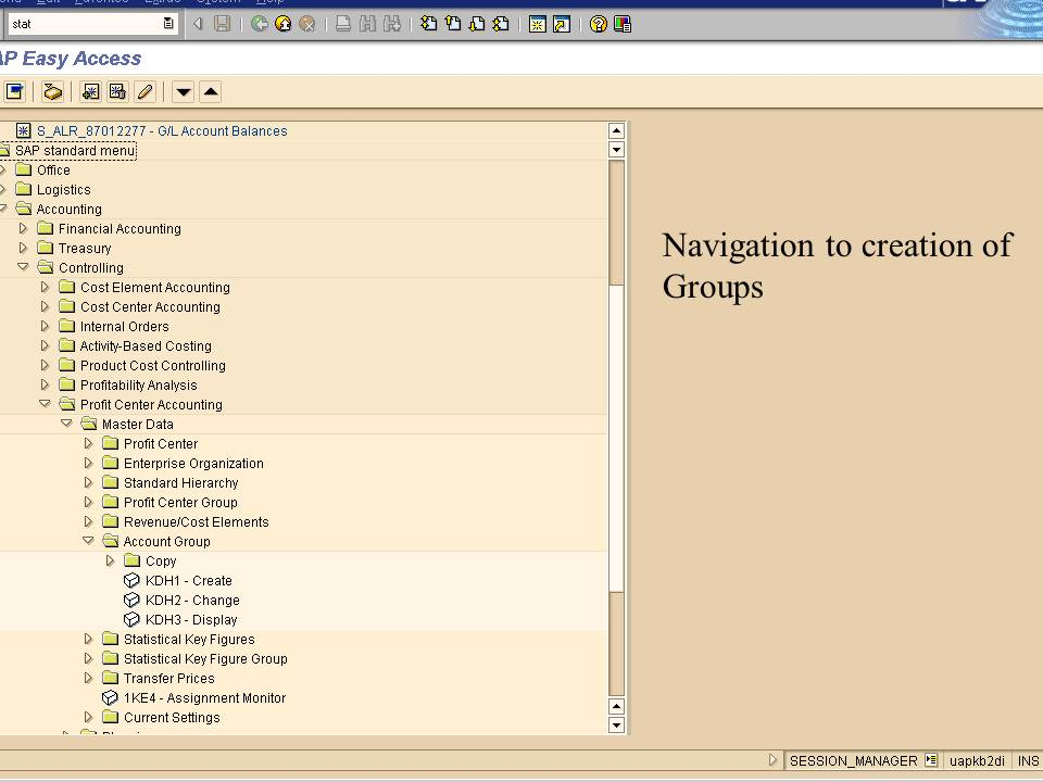 2. navigation to creation of groups