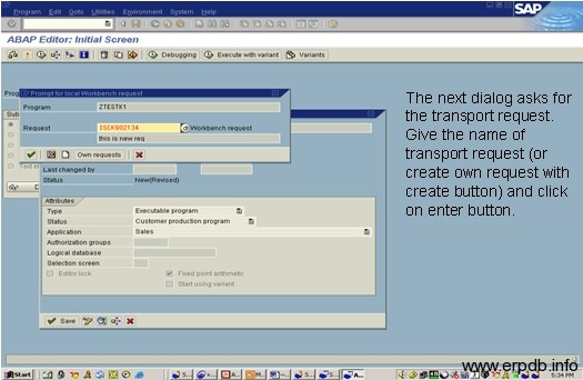 Create Program in SAP ABAP 4