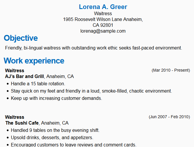 resume sle for waiter position by waitress resume sle images frompo