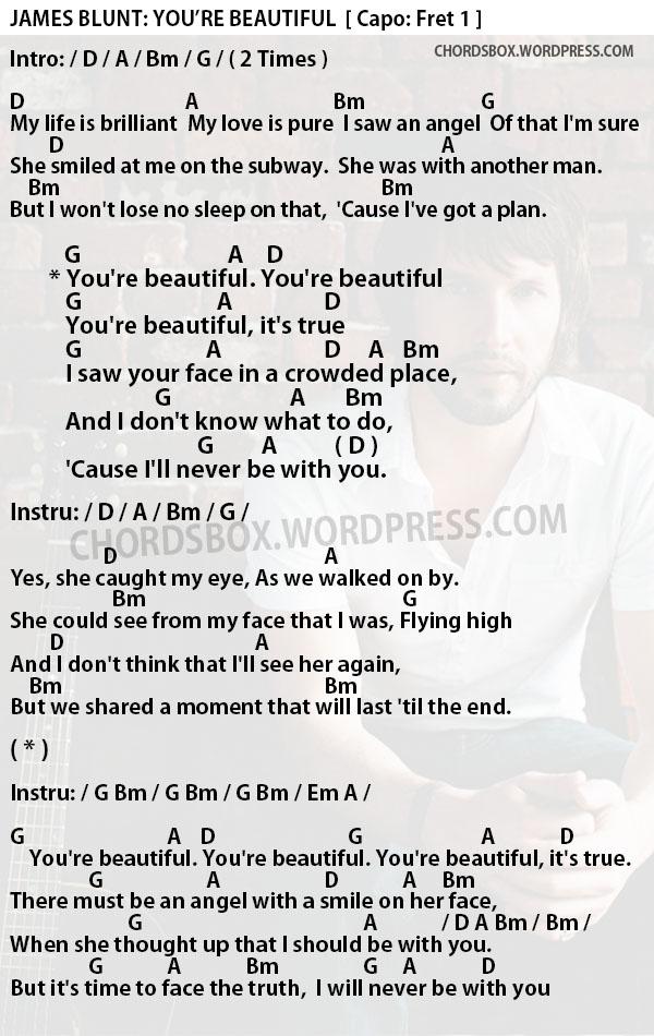 James blunt chords beautiful