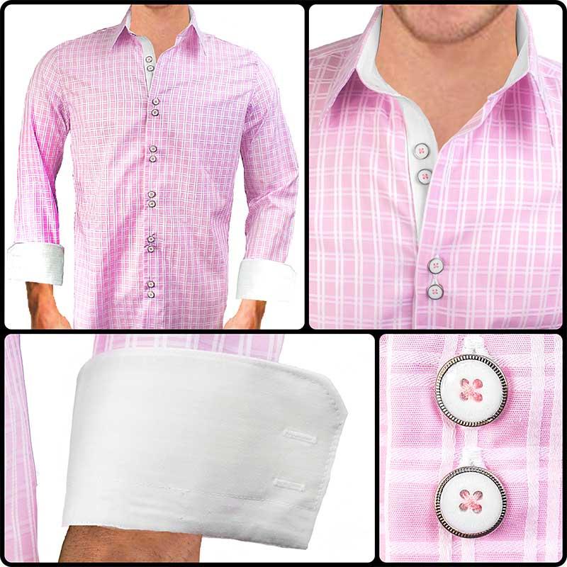 Pink white dress shirt