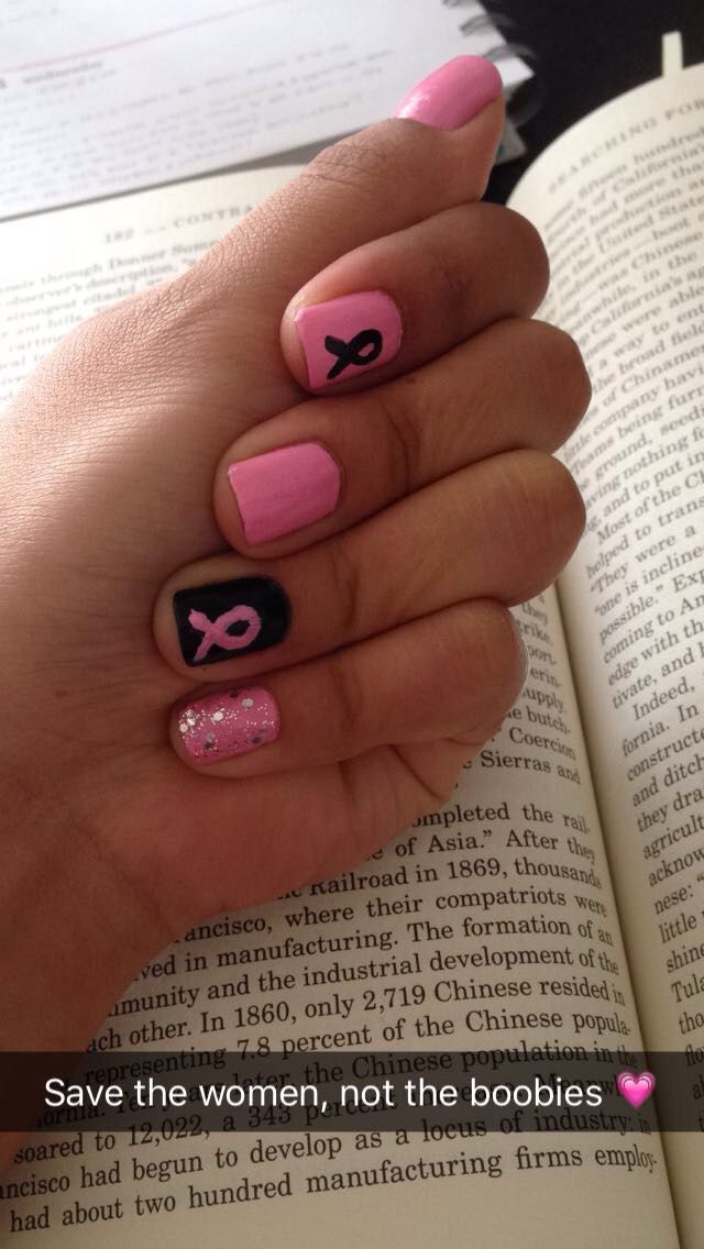 Breast cancer nails pinterest