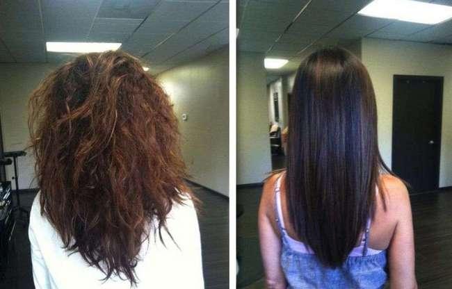 До и после кератинового выпрямления волос фото