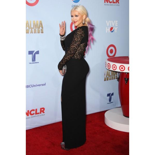 Christina aguilera black lace dress