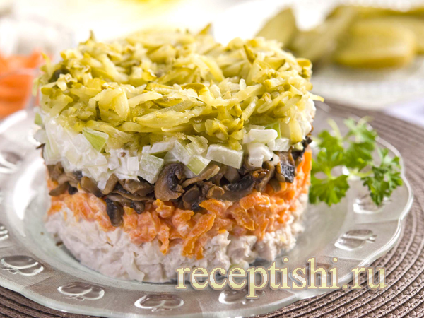 Салат обжорка с фасолью и курицей рецепт с фото