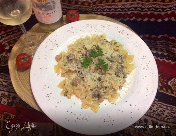 Фарфалле с курицей и грибами рецепт
