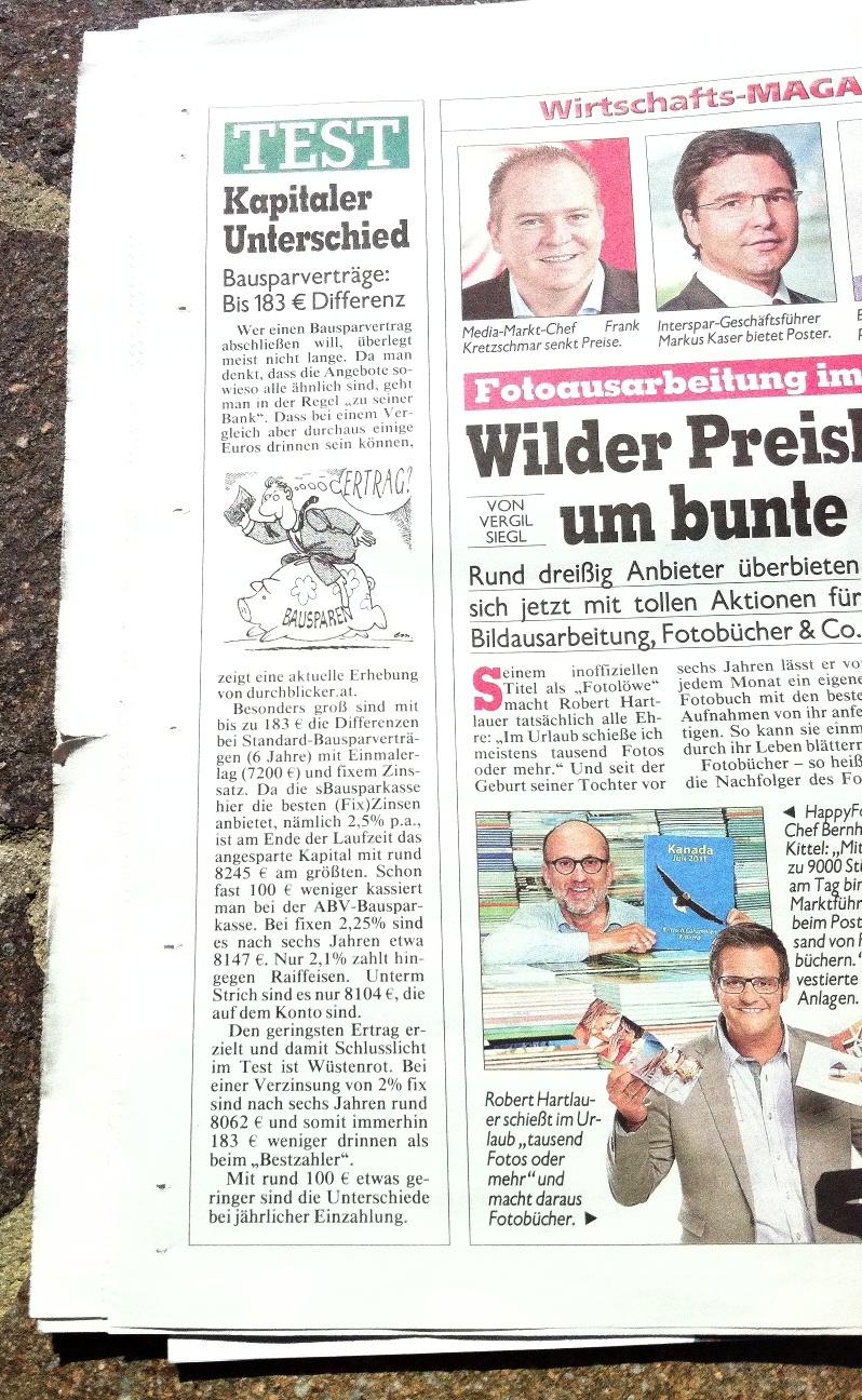 Bauspar-Vergleich von durchblicker.at in der Kronen Zeitung