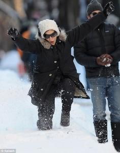 Celebrities in the snow