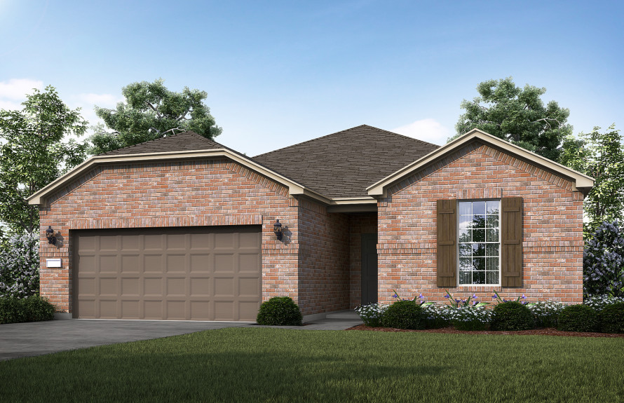 Summerwood - Elevation B with brick exterior and shutters