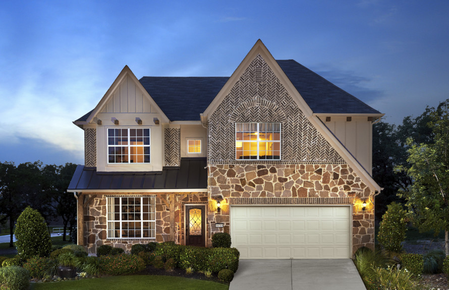 Soledad - Elevation F with Stone Exterior, Brick Accents and Covered Front Porch