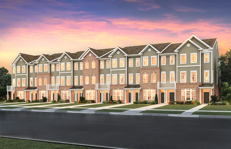 Realistic rendering of the new townhomes coming to Liberty Square @ Wesmont Station featuring 4 new designs