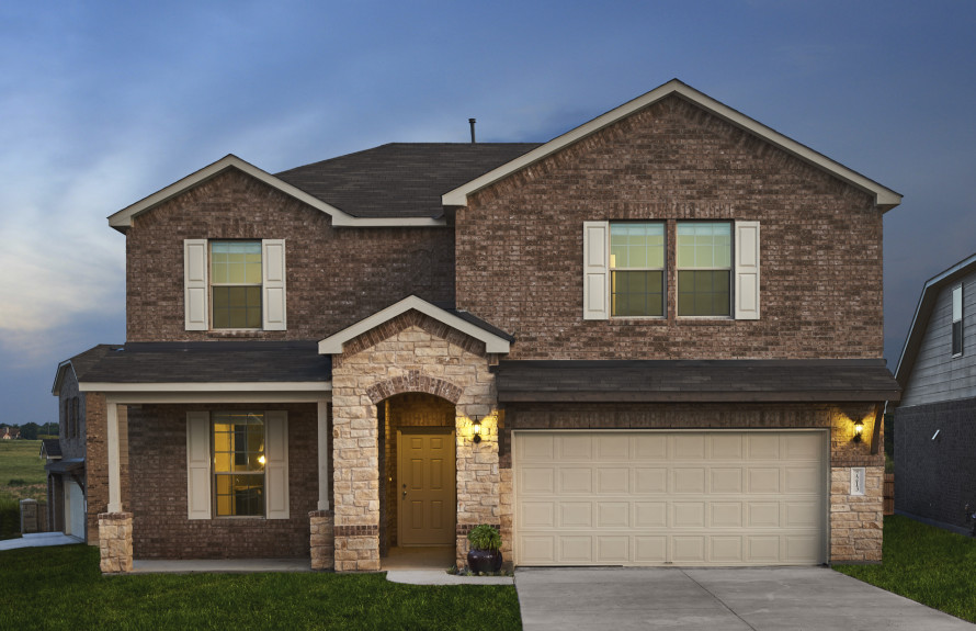Mallory - Elevation R with Brick Exterior, Stone Accents and Covered Front Porch