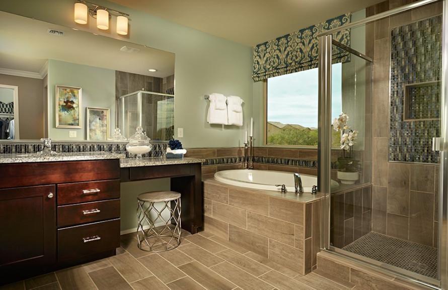 Ridge Plan: Owner's Bath stunning separate tub and shower