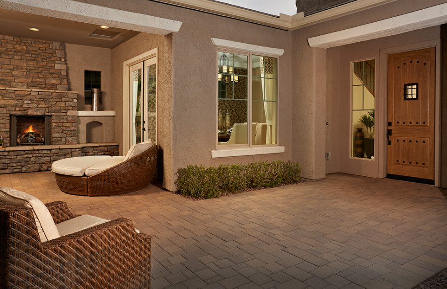 Quinlan Plan: Open courtyard with a welcoming exterior fireplace