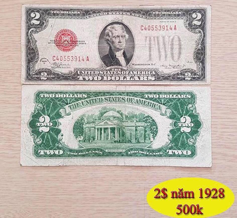 Tờ 2 Đô phát hành năm 1928