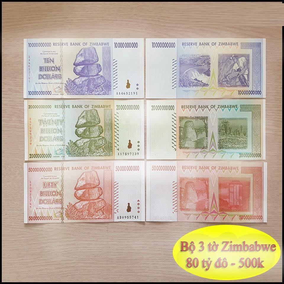 Bộ 3 tờ 80 tỷ Đô tiền Zimbabwe