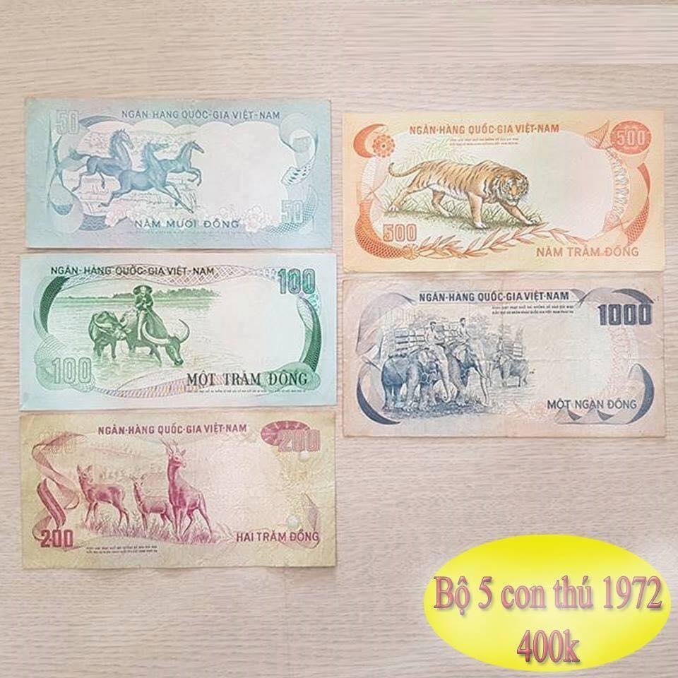 Bộ 5 con thú tiền xưa phát hành năm 1972