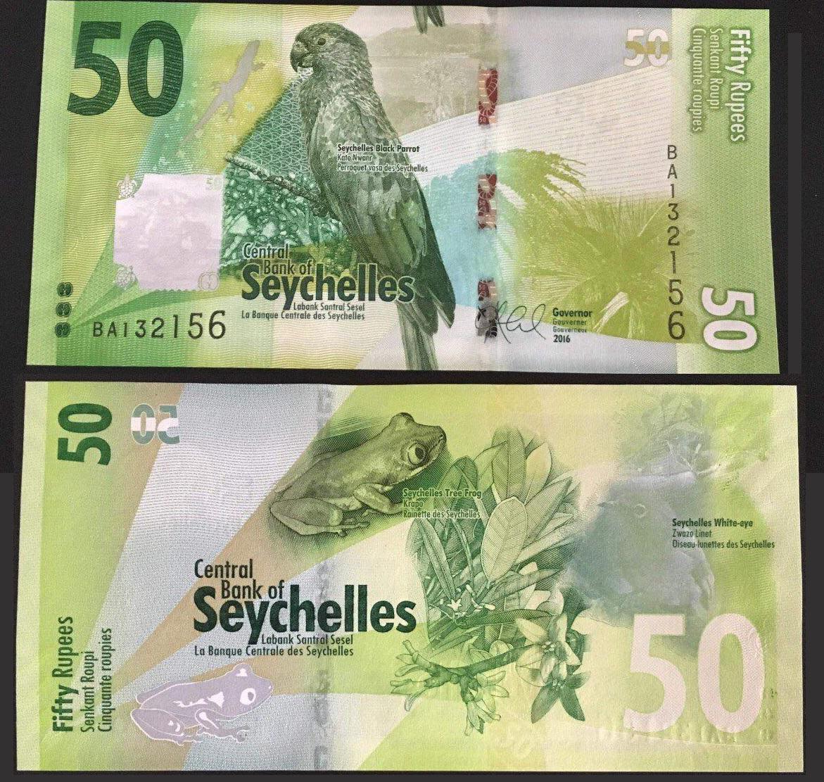 50 Ru Pi (rupee) tiền Seychelles, phát hành năm 2016