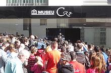 Cristiano Ronaldo's museum with people around it