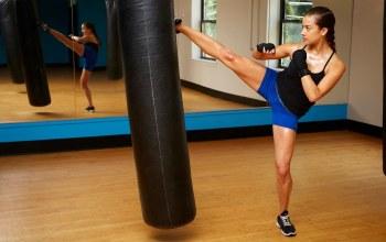Kick,girl kick boxing,mirror