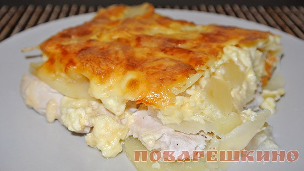 Картошка запеченная с куриным филе и сыром в духовке