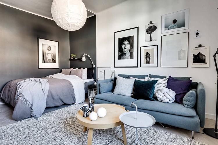 Спальня и зал в одной комнате фото
