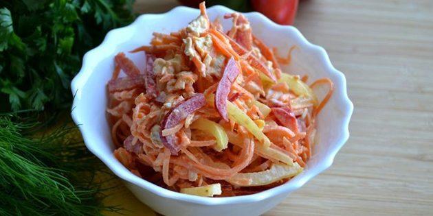 Салат с корейской морковью ветчиной