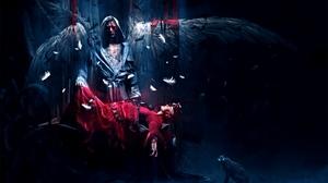 Превью обои ангел, жертва, крылья, ночь, кот, глаза, перья