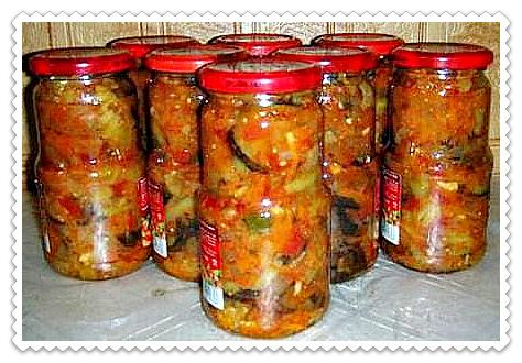 Десяточка салат с баклажанами на зиму