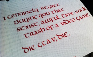GTAV hate in calligraphy