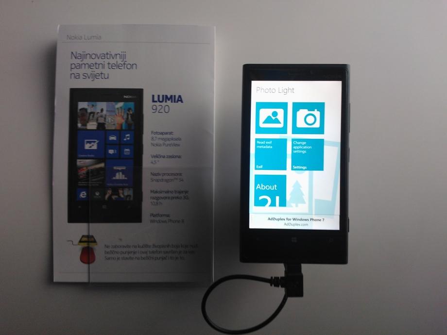 My app Photo Light installed on Lumia 920 on WinDays 13